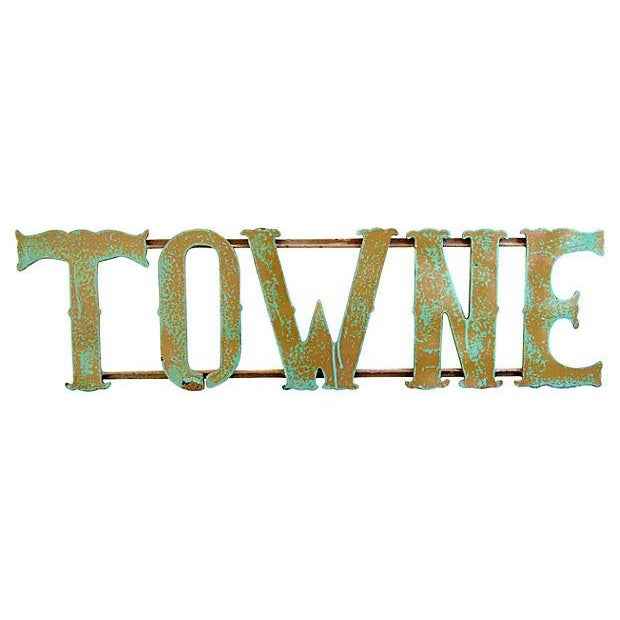 Image of 1930s Hand-Forged Metal Towne Sign