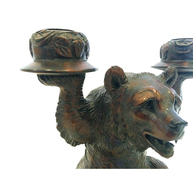 Grizzly Bear Candlestick Holders - A Pair - Image 4 of 4