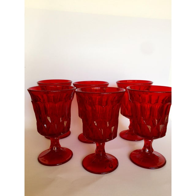 Mid-Century Ruby Red Goblets - Set of 6 - Image 7 of 11