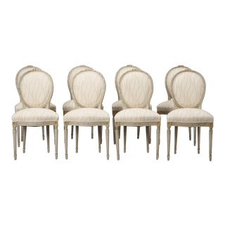 Set of Eight French Carved and Painted Dining Chairs