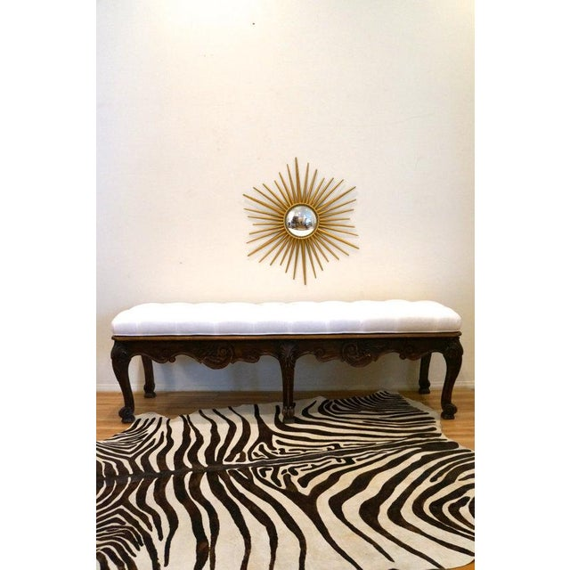Carved Wood Button Tufted Bench - Image 4 of 6