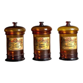 Three Balloon Lid Glass Apothecary Jars with Original Illustrative Labels, mid-19th century