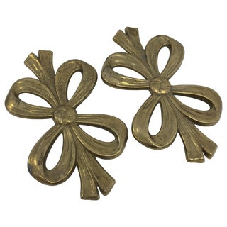 Matching Vintage Brass Bow Trivets - Pair
