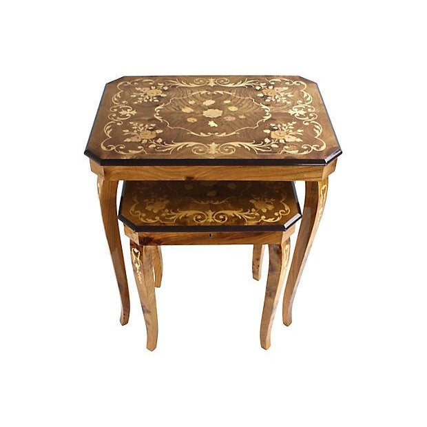 Italian Marquetry Nesting Tables - Set of 2 - Image 3 of 6
