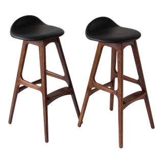 Pair of Rosewood and Leather Bar Stools by Erik Buch for O.D. Møbler