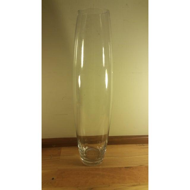 large clear glass bullet vase chairish. Black Bedroom Furniture Sets. Home Design Ideas