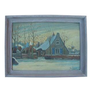 Vintage Snowscape European Winter Cottage Oil Painting