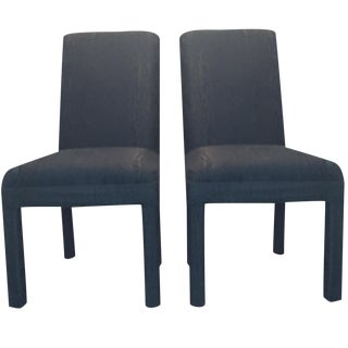 Vintage Black Upholstered Parson Chairs - A Pair