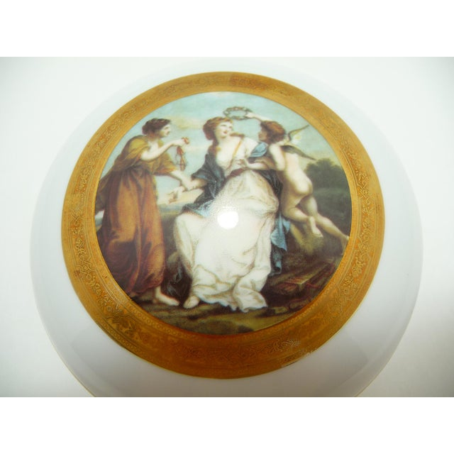 Vintage Round Dome Lid Porcelain Box Bavaria Classical Maidens With Cherub - Image 3 of 8