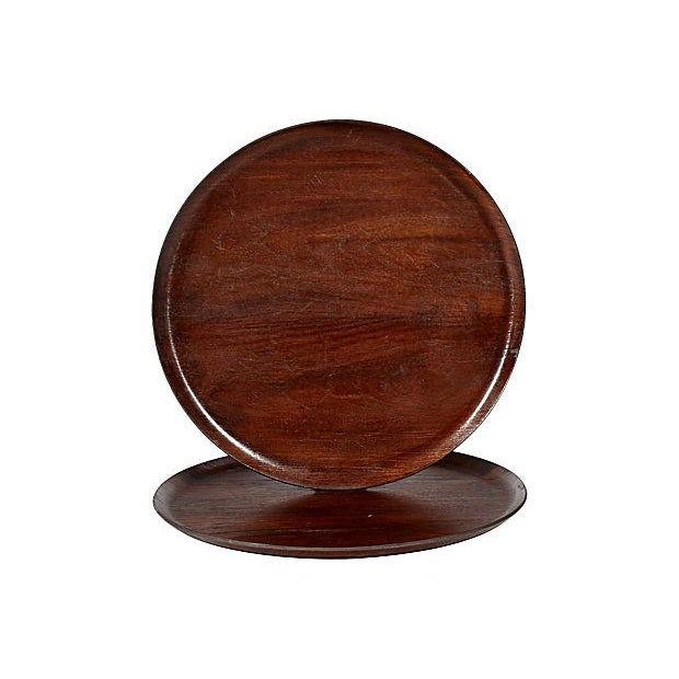 Image of Vintage 1960s Swedish Teak Serving Trays - A Pair
