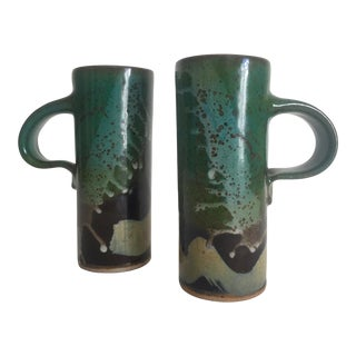 Vintage Mid Century Modern Studio Pottery Moss Green Tall Handle Mugs - a Pair