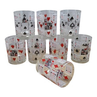 Betty Litley Playing Card High Ball Glasses - Set of 8