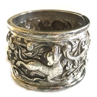 Antique Chinese Dragon Sterling Silver Napkin Ring