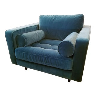 Pacific Teal Velvet Tufted Seat Chair with 2 Bolster Pillows