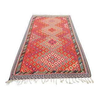 """Early 20th C. Persian Tribal Qashgai Flatwoven Kilim Rug - 4'8"""" x 7'10"""""""