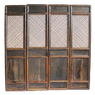 Antique Chinese Screen Door Panels- Set of 4