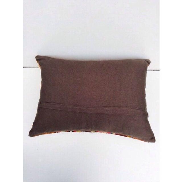 Turkish Orange & Tan Striped Kilim Pillow - Image 5 of 7
