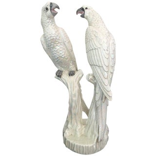 Mid-Century Pair of Italian Parrots with a White Iridescent Glaze