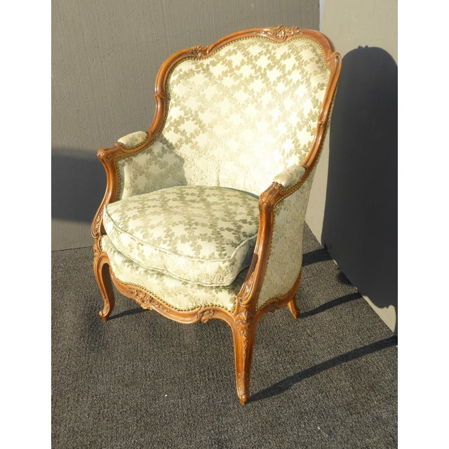 Antique Carved French Louis XV Style Barrel Back Bergere Chair - Image 4 of 11