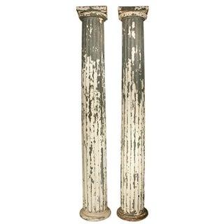 Antique Galvanized Metal Doric Columns - A Pair