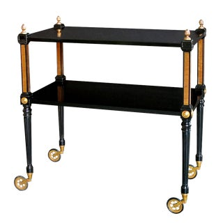 Stylish French 1940s Regency Style Ebonized and Bronze-Mounted Drinks Cart