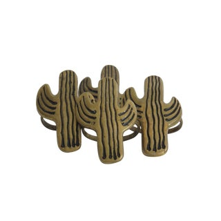 Brass Cactus Napkin Rings - Set of 4
