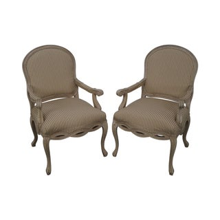 Basset French Style Painted Arm Chairs - Pair