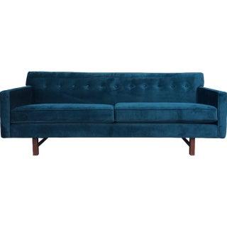 Mid-Century Teal Velvet Sofa