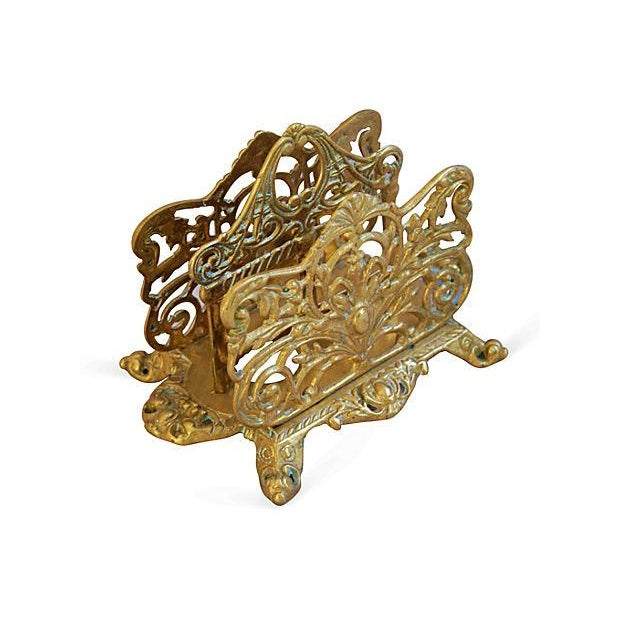 Image of 1950s Ornate Brass Letter & Note Desk Organizer