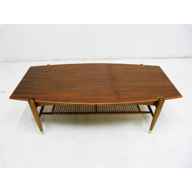 Dux Mid-Century Coffee Table with Cane Shelf - Image 2 of 10