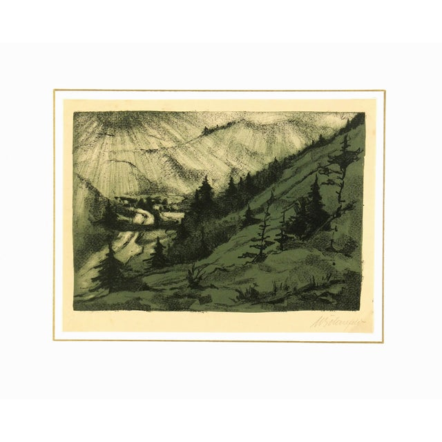 """Vintage Lithograph """"Mountain Valley,"""" C. 1950 - Image 4 of 4"""