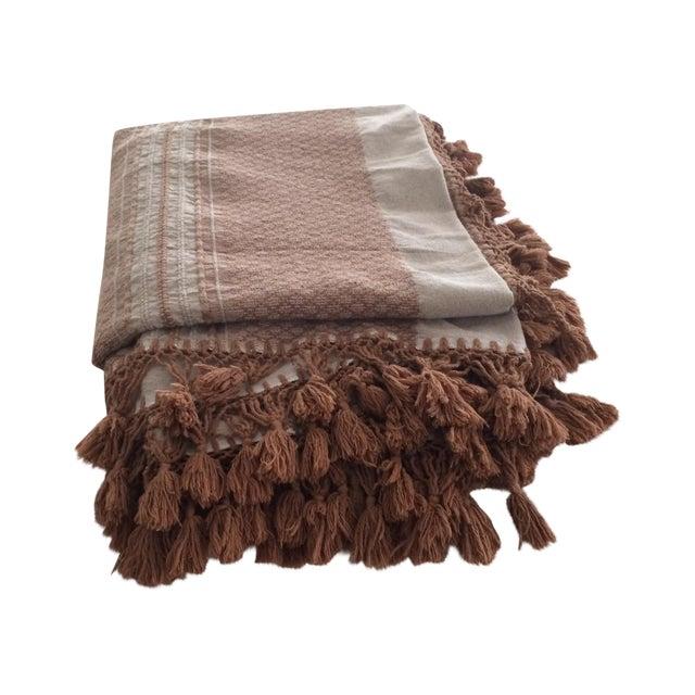 Brown Mexican Tassel Blanket/Throw - Image 1 of 6