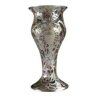 Emerald Green Vase With Sterling Silver Overlay
