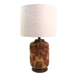 1960s Volcanic Drip Glazed Ceramic Table Lamps - A Pair