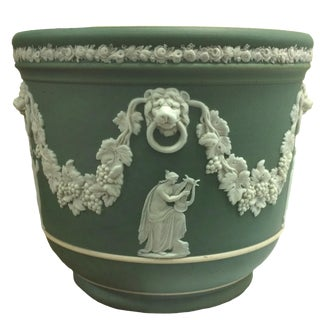 Antique Wedgwood Green Cachepot