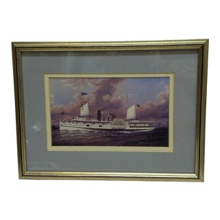 Circa 1980 Framed Paddle-Wheel Boat Print