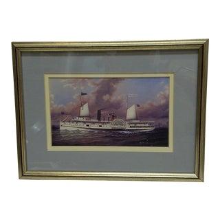 Circa 1980 Framed Paddle-Wheel Boat Print