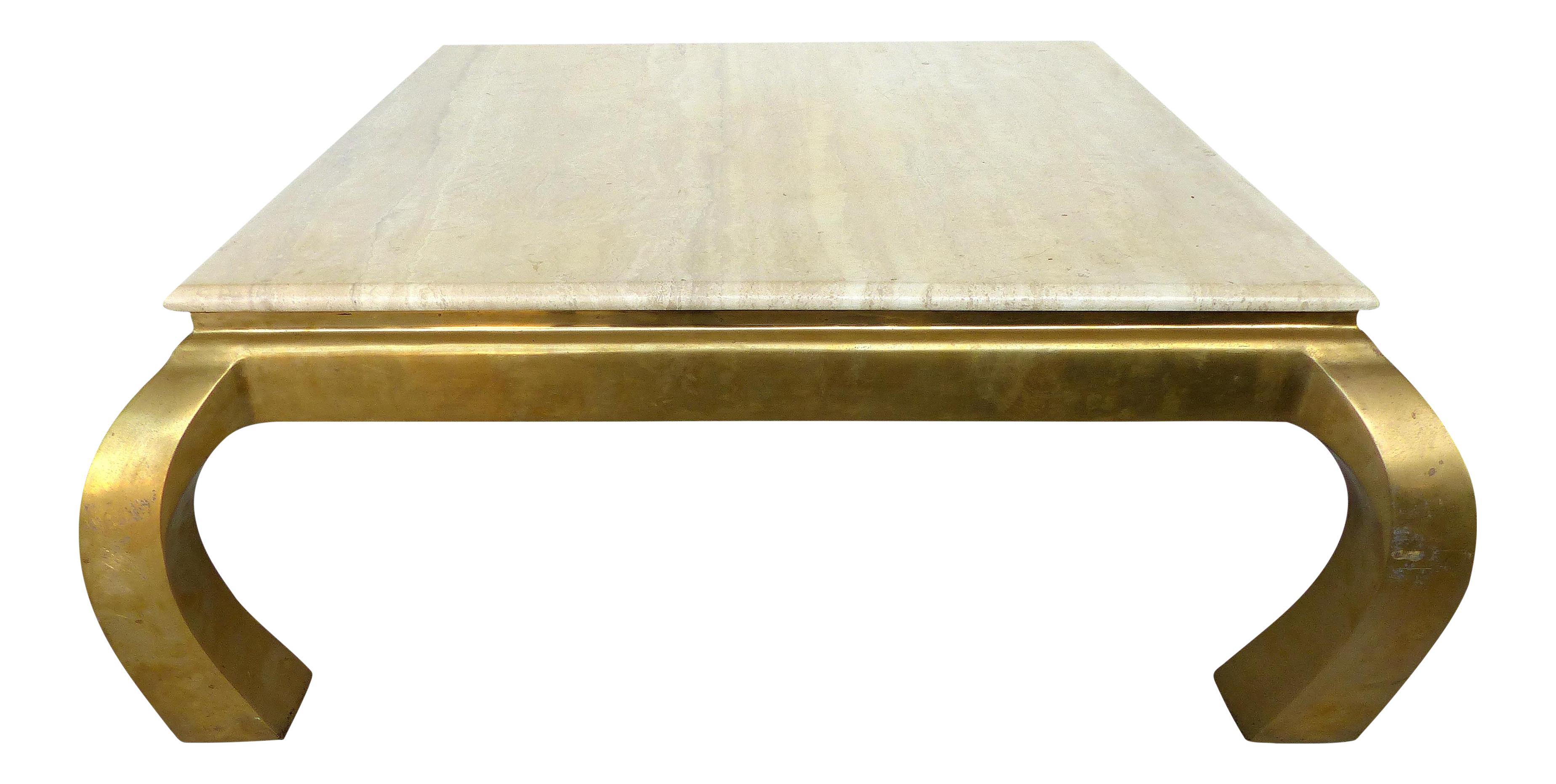 Mid Century Springer Style Brass U0026 Travertine Coffee Table