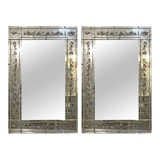 Maison Jansen Églomisé Framed Wall Mirrors - A Pair