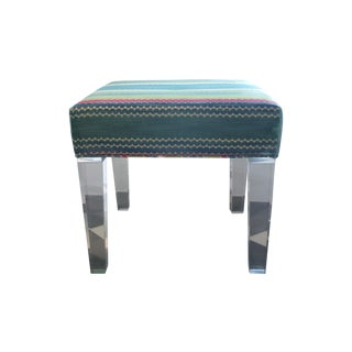 Lucite Stools With Jewel Stripe Velvet- Pair