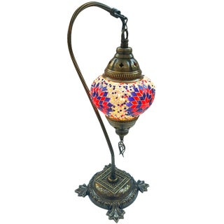 Red & Blue Mosaic Pendant Table Lamp