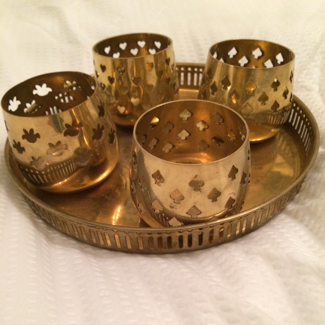 Vintage Brass Tray With Votive Candle Holders - Image 2 of 6
