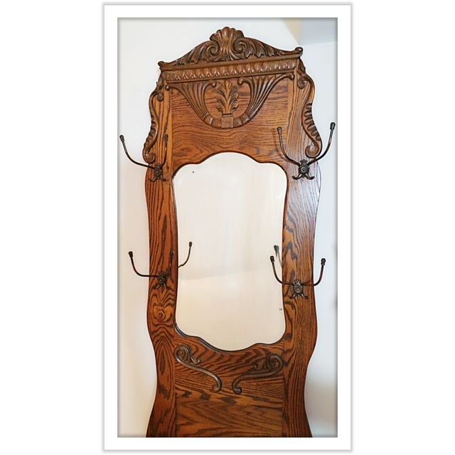 Image of Antique Victorian Tiger-Oak Hall Tree Chair