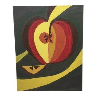 Mid-Century Pop Art Apple Oil Painting