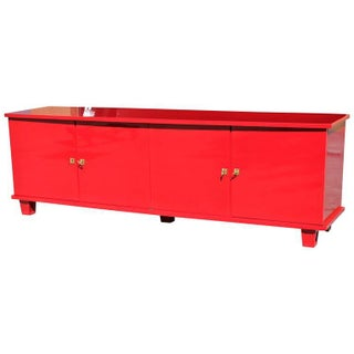 French Art Deco Red Lacquered Sideboard or Buffet, Circa 1940s