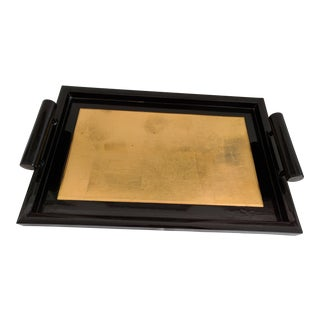 Vintage Black Gold Lacquered Tray