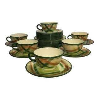 Vintage Vernonware Tam O'Shanter Pattern Dishes From Vernon Kiln (27 Pieces)