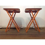 Image of Orange Mid Century Collapsible Side Tables - Pair