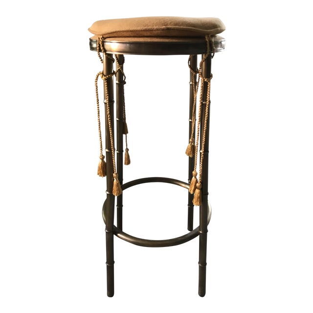 Regency Faux Bamboo Brass Barstool With Tassels - Image 1 of 5