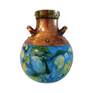 Copper & Brass Abstract Enamel Vase